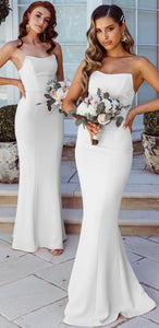 Strapless Long Mermaid Ivory Jersey Bridesmaid Dresses, Wedding Guest Dresses, Bridesmaid Dresses