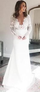V-neck Long Mermaid Jersey Wedding Dresses, Long Sleeves Wedding Dresses, Long Wedding Dresses