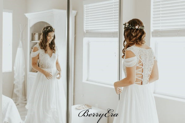 Rustic Country Wedding Lace Dresses, Ivory Long Wedding Dresses, Affordable Wedding Dresses