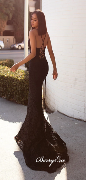 Long Mermaid Black Lace Prom Dresses, Long Prom Dresses, Newest Prom Dresses, Mermaid Prom Dresses