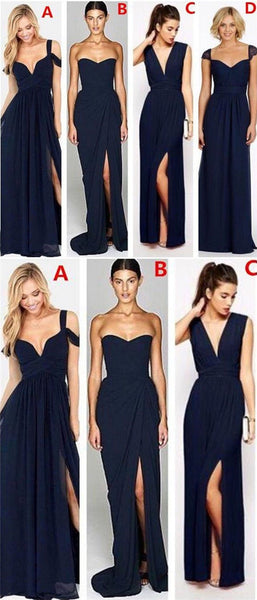 Mismatched Navy Chiffon Bridesmaid Dresses, Wedding Party Dresses