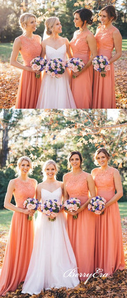 Sleeveless Orange Lace Chiffon A-line Long Bridesmaid Dresses