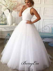 Trendy Tulle A-line Wedding Dresses, Beaded Fancy Wedding Dresses New