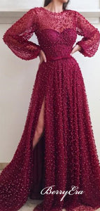 Pearls Sheer Neckline Evening Dresses with Loose Sleeves, Luxury Beaded Prom Dresses