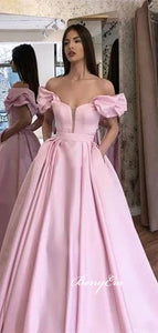 Off Shoulder Bubble Sleeve Long A-line Pink Satin Prom Dresses, New Arrival Prom Dresses, Long Prom Dresses