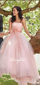 Strapless Pink Tulle A-line Princess Wedding Dresses, Bridal Gown