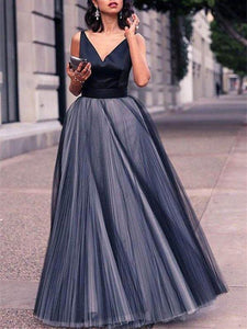 Tulle A-line Prom Dresses, Cheap Evening Party Long Prom Dresses