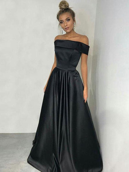 Off Shoulder Black Satin Long A-line Simple Prom  Dresses