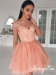 See Through Long Sleeves Lace Tulle Homecoming Dresses