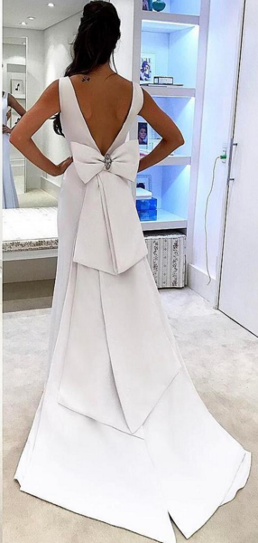 Long Mermaid Prom Dresses, V-neck White Evening Dresses