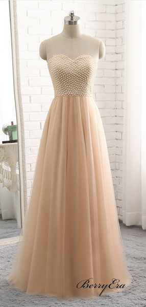 Sweetheart Strapless A-line Tulle Prom Dresses, Beaded Luxury Long Prom Dresses