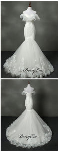 Elegant Lace Wedding Dresses, Mermaid Fancy Modest Wedding Dresses