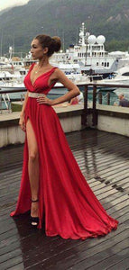 Red Color High Slit A-line Prom Dress, V-neck Evening Party Prom Dress
