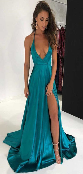 Deep V-neck Sexy Long Prom Dresses, Simple Cheap Prom Dresses