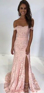 Side Slit Long Prom Dresses, Off the Shoulder Lace Pink Dresses