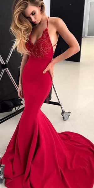Spaghetti Long Mermaid Red Lace Jersey Prom Dresses