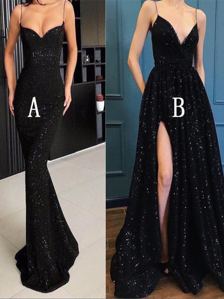 2019 Black Sparkle Popular Long Prom Dresses,Bling Sequin Prom Dress