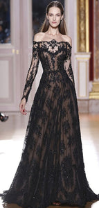 Off the Shoulder Lace A Line Black Prom Dresses, Long Sleeves Prom Dresses