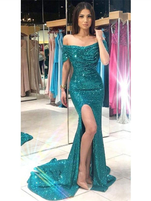 Off the Shoulder Side Split Mermaid Prom Dresses, Sequin Evening Dresses