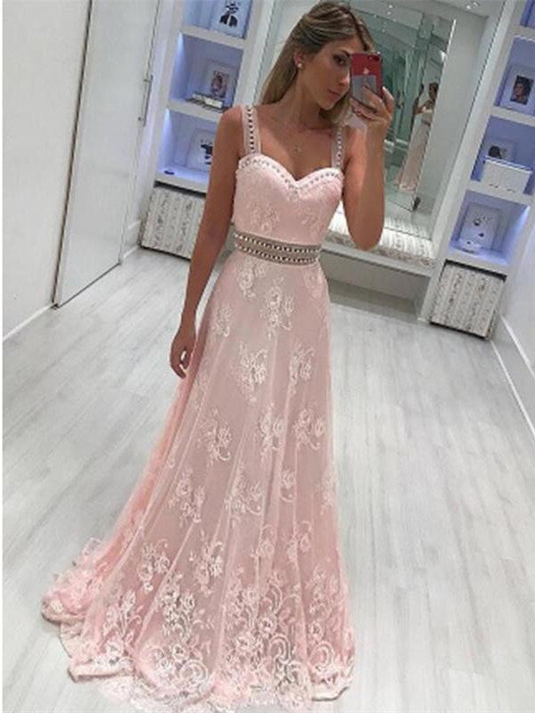 Sweetheart Pink A Line Prom Dresses, Lace Spaghetti Strap Party Dresses