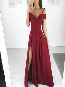 Spaghetti Long A-line Side Slit Simple Design Prom Formal Dresses