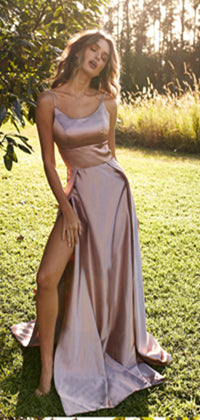 Simple Spaghetti Long Side Slit Prom Dresses, Affordable Prom Dresses, Prom Dresses