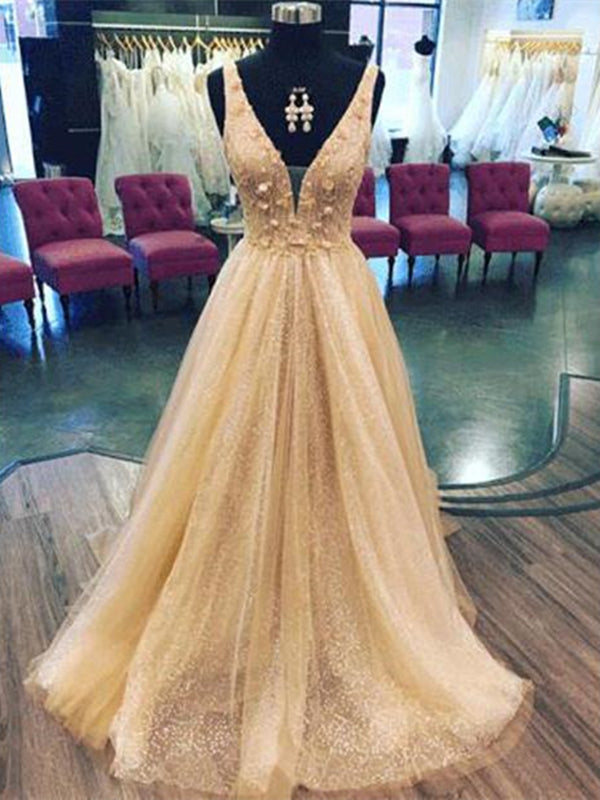 V-neck Sequin Tulle Handmade Flowers Prom Dresses
