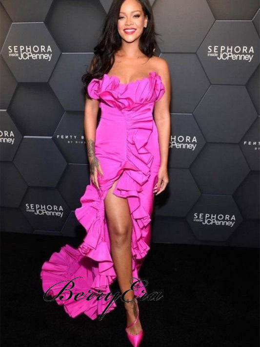 Rihanna Hot Pink Ruffled Gown, Sexy Side Slit Mermaid Prom Dresses