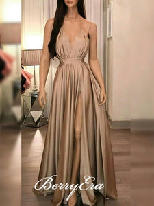 Spaghetti Long A-line Sexy Side Slit Prom Dresses