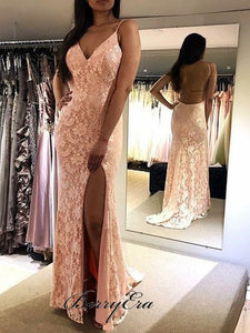 Backless Long Mermaid Side Slit Pink Lace Prom Dresses, Popular Prom Dresses