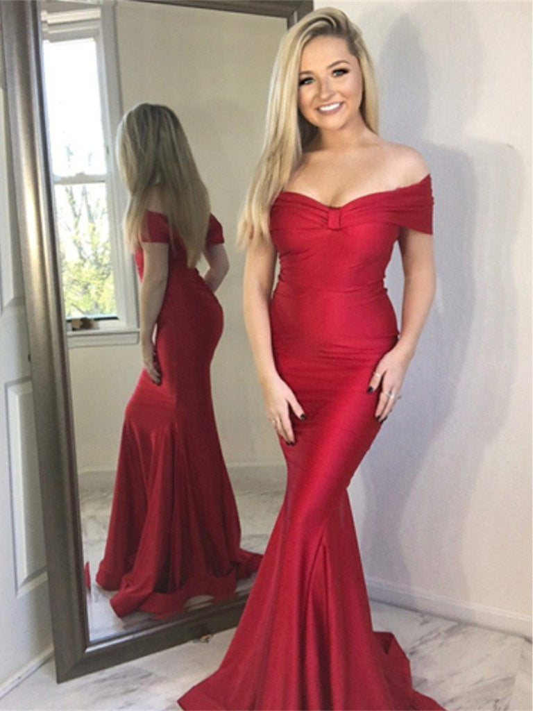 Off Shoulder Long Mermaid Red Prom Dresses, Soft Satin Long Prom Dresses