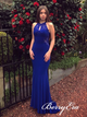 Keyhole Long Mermaid Royal Blue Prom Dresses, Jersey Lace Prom Dresses, Long Prom Dresses