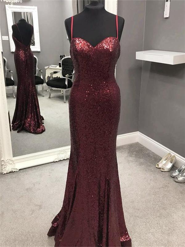 Sexy Long Sequin Mermaid Prom Dresses,Cheap Evening Party Dresses