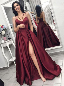 Long A-line Side Slit Satin Prom Dresses