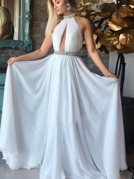 Halter Beaded White Chiffon Long A-line Prom Dresses