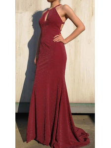 Maroon Long Mermaid Shiny Simple Popular Prom Dresses