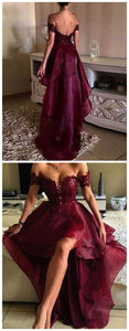 Organza Burgundy High Low Lace Prom Dresses, Off Shoulder Party Dresses