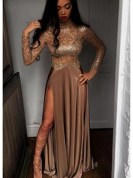 Long Sleeves Sequin Sexy High Side Slit Prom Dresses