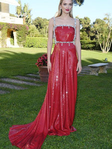Straps Long A-line Red Sequin Prom Dresses, Evening Dresses