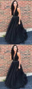 V-neck Black Lace Tulle Beaded Prom Dresses