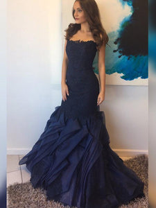 Long Mermaid Navy Lace Beaded Prom Dresses, Organza Sleeveless Long Prom Dresses