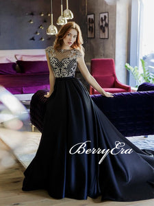 Cap Sleeves Lace Satin Prom Dresses, A-line Prom Dresses, 2020 Prom Dresses, Newest Prom Dresses
