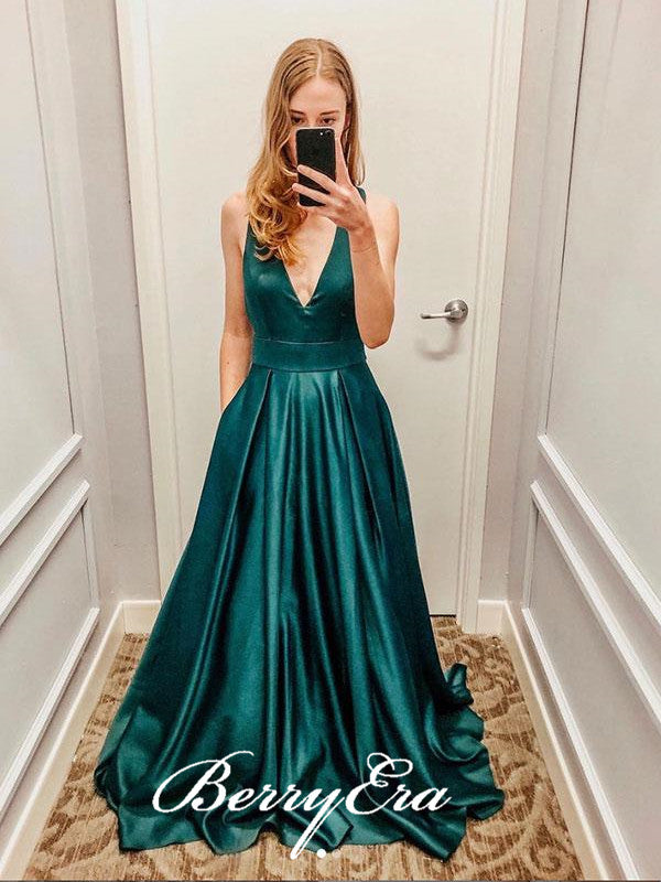 Simple V-neck Satin Prom Dresses, Long Prom Dresses, Affordable Prom Dresses