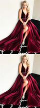 V-neck Dark Red Long A-line Beaded Organza Prom Dresses