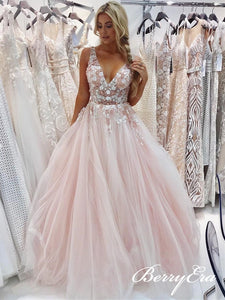 V-neck Blush Lace Appliques Beaded Long Prom Dresses, Prom Dresses