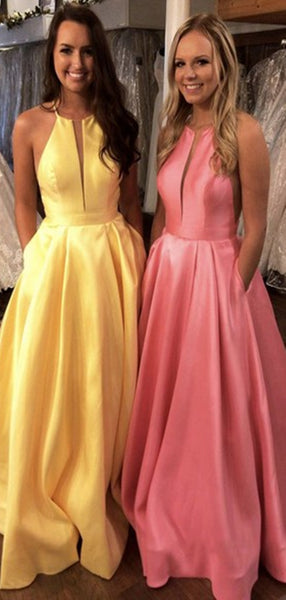 Simple Long A-line Satin Prom Dresses, Newest Cheap Prom Dresses