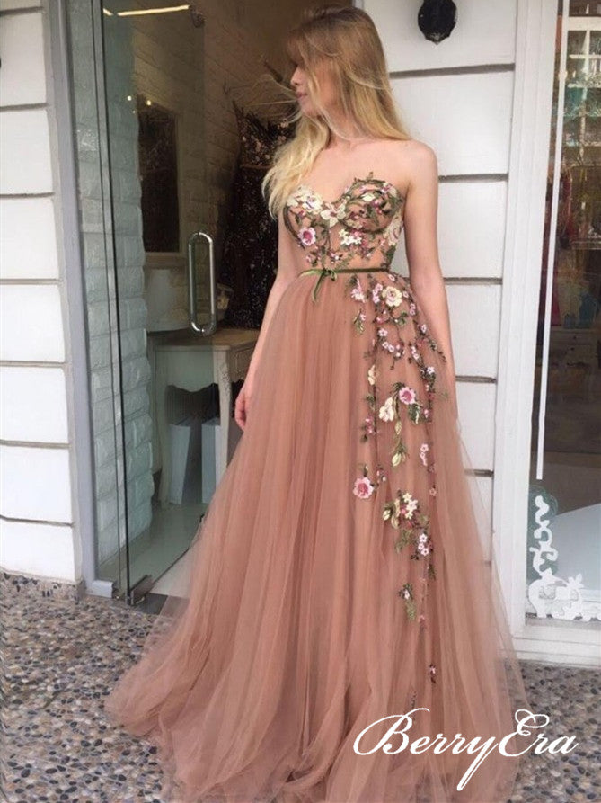 Sweetheart Long A-line Tulle Appliques Long Prom Dresses, Newest Prom Dresses
