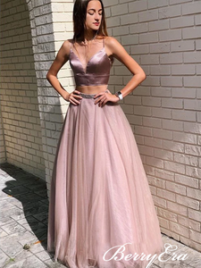 2 Pieces Dusty Rose Satin Top Tulle Long Prom Dresses, Newest Prom Dresses, Prom Dresses
