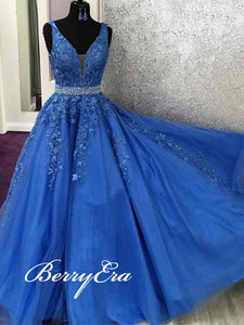 V-neck Blue Lace Beaded Long Prom Dresses, Newest Prom Dresses