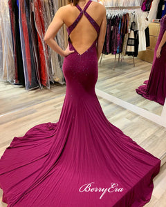 V-neck Long Mermaid Jersey Prom Dresses, Beaded Shiny Prom Dresses, Prom Dresses